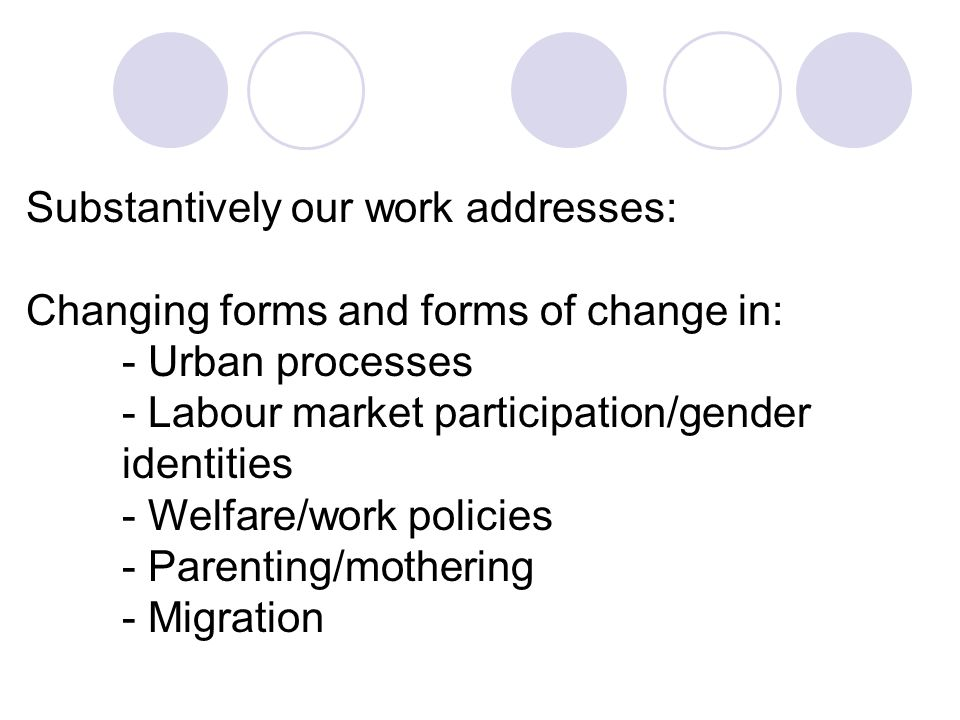Substantively our work addresses: Changing forms and forms of change in: - Urban processes - Labour market participation/gender identities - Welfare/work policies - Parenting/mothering - Migration