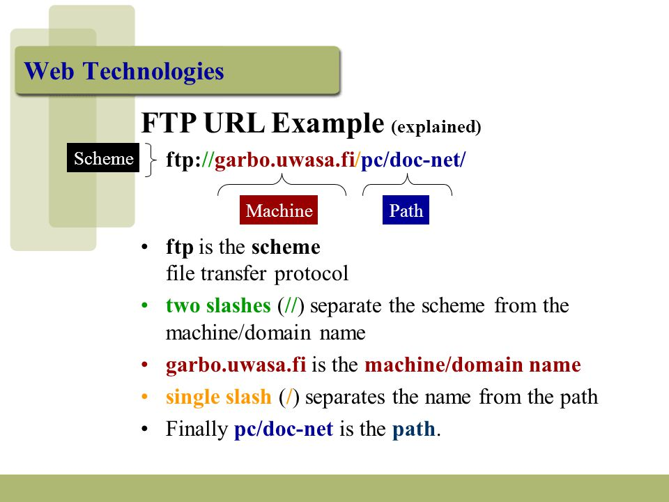 Web Technologies FTP URL Example (explained) ftp://garbo.uwasa.fi/pc/doc-net/ MachinePath Scheme ftp is the scheme file transfer protocol two slashes (//) separate the scheme from the machine/domain name garbo.uwasa.fi is the machine/domain name single slash (/) separates the name from the path Finally pc/doc-net is the path.