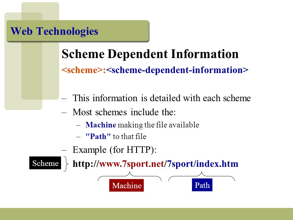 Web Technologies Scheme Dependent Information : –This information is detailed with each scheme –Most schemes include the: –Machine making the file available – Path to that file –Example (for HTTP): http://www.7sport.net/7sport/index.htm Machine Path Scheme