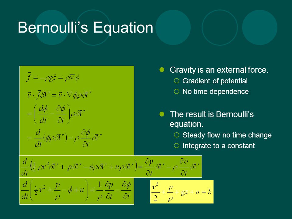 Bernoulli's Equation Gravity is an external force.  Gradient of potential  No time dependence The result is Bernoulli's equation.  Steady flow no t