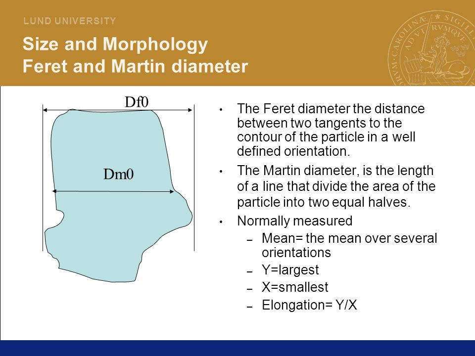 10 L U N D U N I V E R S I T Y Size and Morphology Feret and Martin diameter The Feret diameter the distance between two tangents to the contour of th