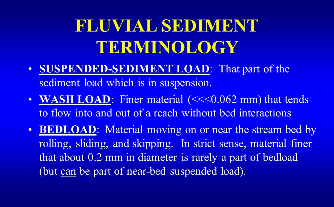 SUSPENDED-SEDIMENT LOAD: That part of the sediment load which is in suspension.
