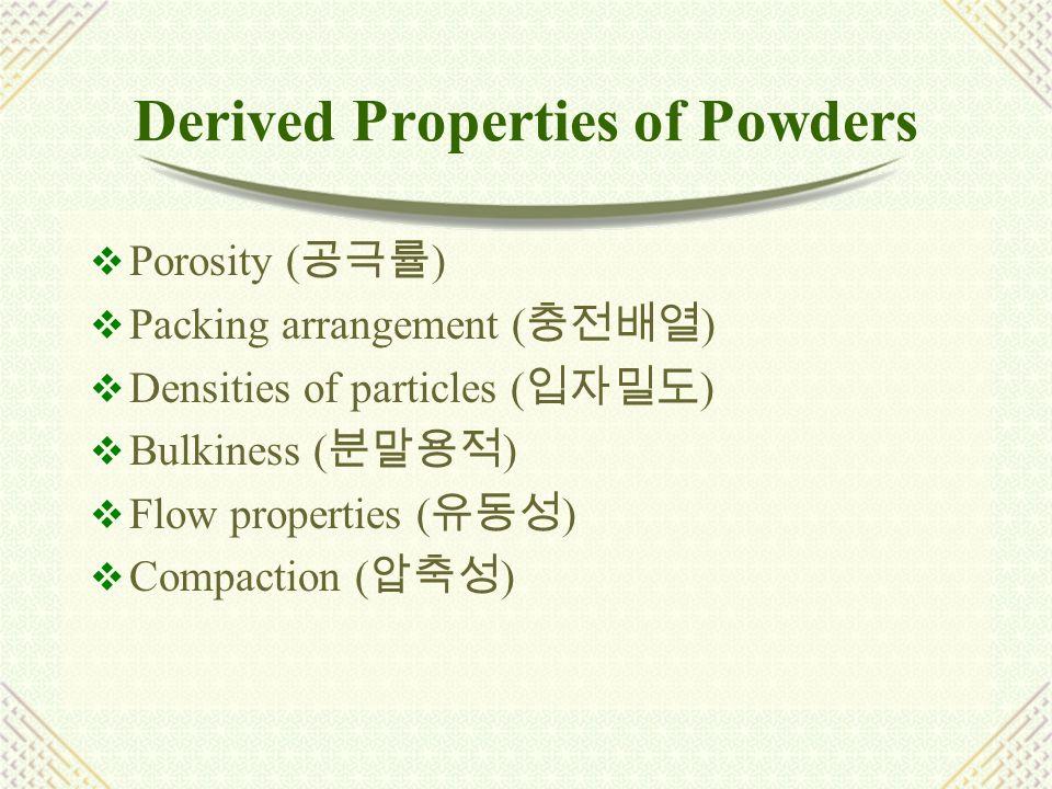 Porosity (   Void volume (v) : the volume of space  Bulk volume (V b ) : occupied volume  True volume (V p )