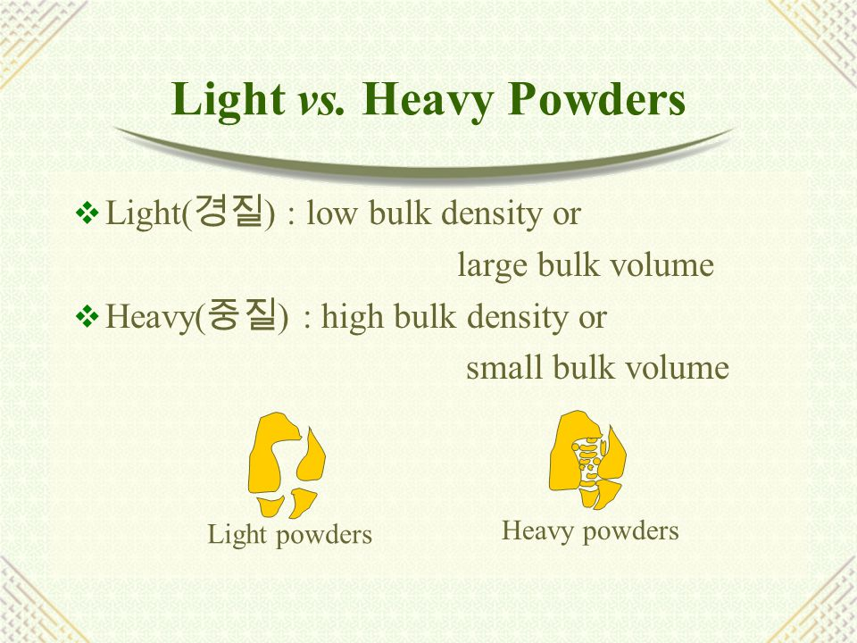 Flow Properties  A bulk powder is some what analogous to a non- Newtonian liquid(plastic flow, dilatancy)  Flow property is affected by particle size, shape, porosity, density, surface texture  Measurement : angle of repose(  ) (= f(roughness)) tan  =    : coefficient of friction 