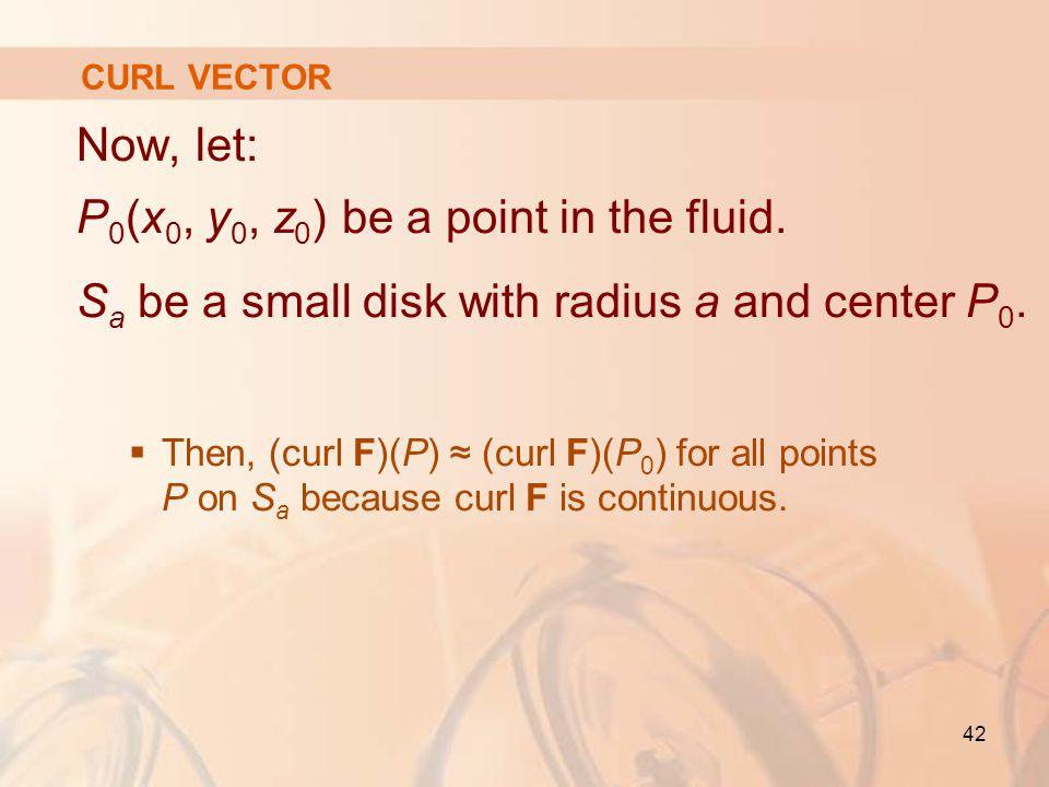 42 CURL VECTOR Now, let: P 0 (x 0, y 0, z 0 ) be a point in the fluid.