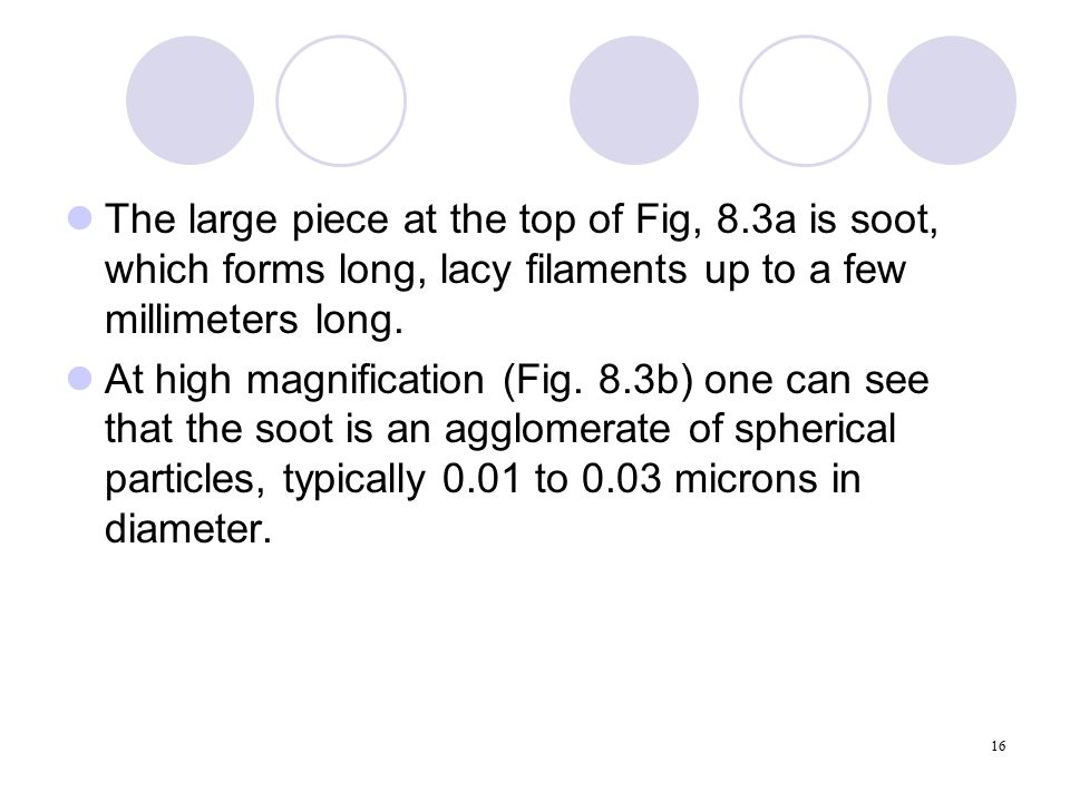 16 The large piece at the top of Fig, 8.3a is soot, which forms long, lacy filaments up to a few millimeters long.