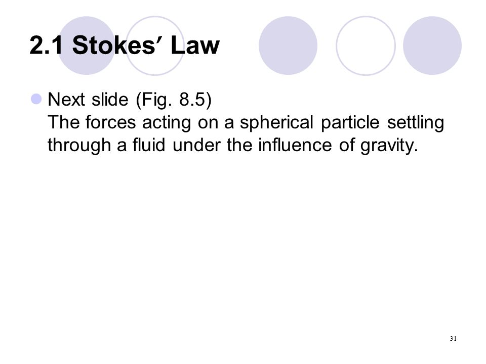 31 2.1 Stokes ' Law Next slide (Fig.