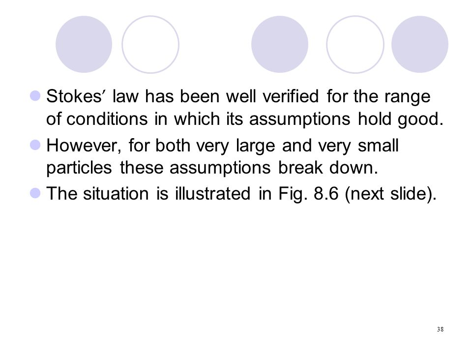 38 Stokes ' law has been well verified for the range of conditions in which its assumptions hold good.