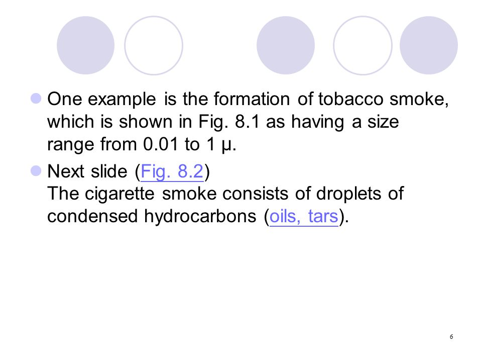 6 One example is the formation of tobacco smoke, which is shown in Fig.