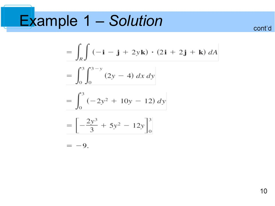 10 cont'd Example 1 – Solution