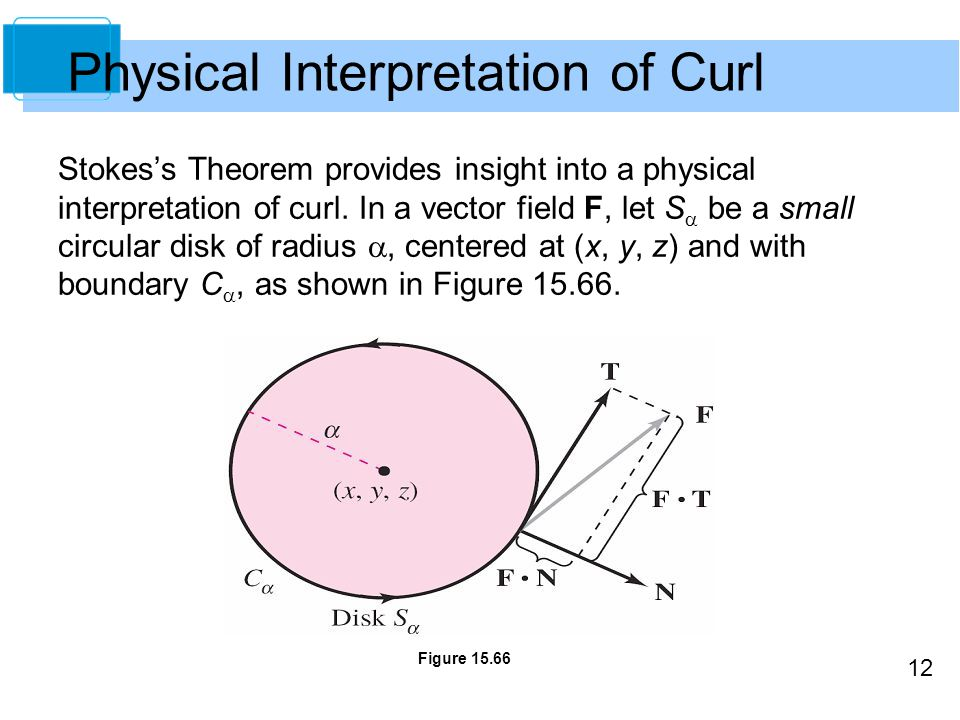 12 Stokes's Theorem provides insight into a physical interpretation of curl.