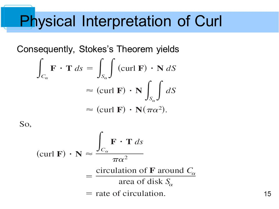 15 Consequently, Stokes's Theorem yields Physical Interpretation of Curl