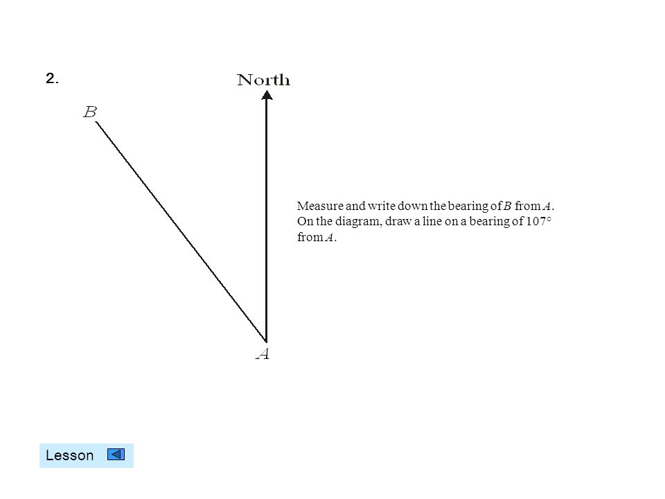 Measure and write down the bearing of B from A. On the diagram, draw a line on a bearing of 107° from A. 2. Lesson