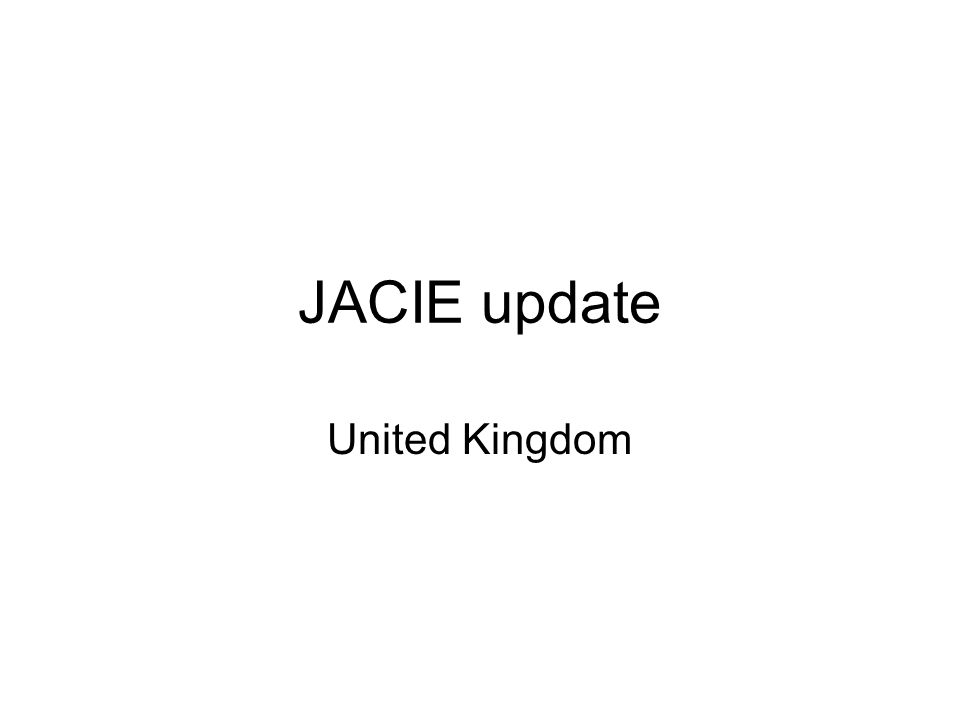 JACIE update United Kingdom