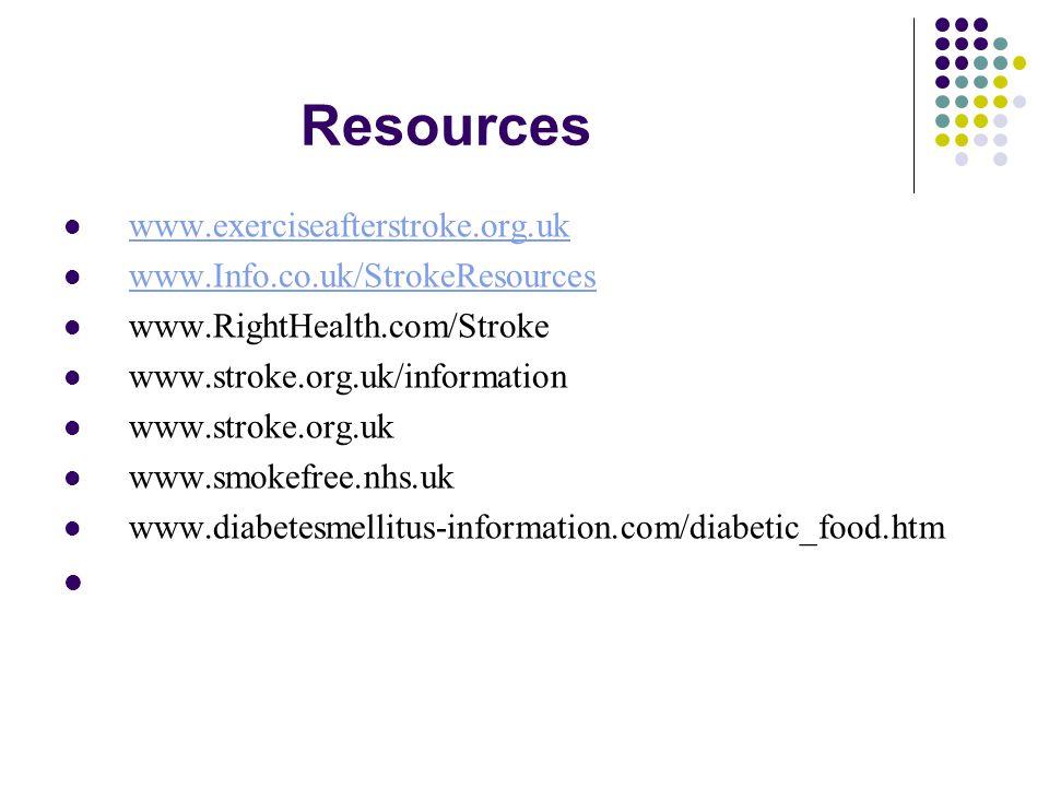 Resources www.exerciseafterstroke.org.uk www.Info.co.uk/StrokeResources www.RightHealth.com/Stroke www.stroke.org.uk/information www.stroke.org.uk www