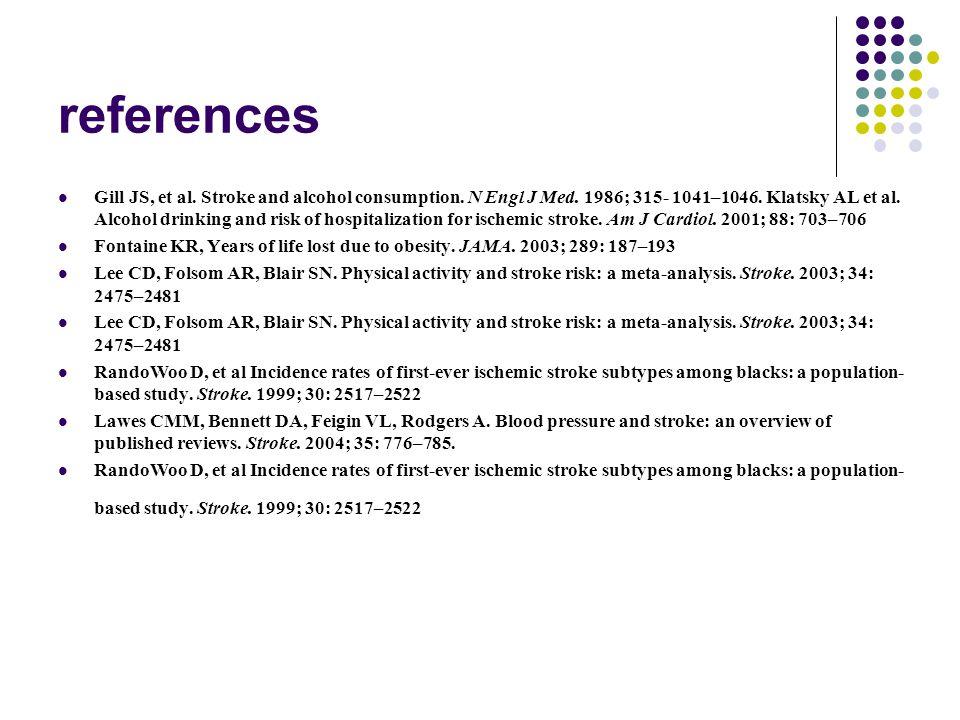 references Gill JS, et al. Stroke and alcohol consumption. N Engl J Med. 1986; 315- 1041–1046. Klatsky AL et al. Alcohol drinking and risk of hospital