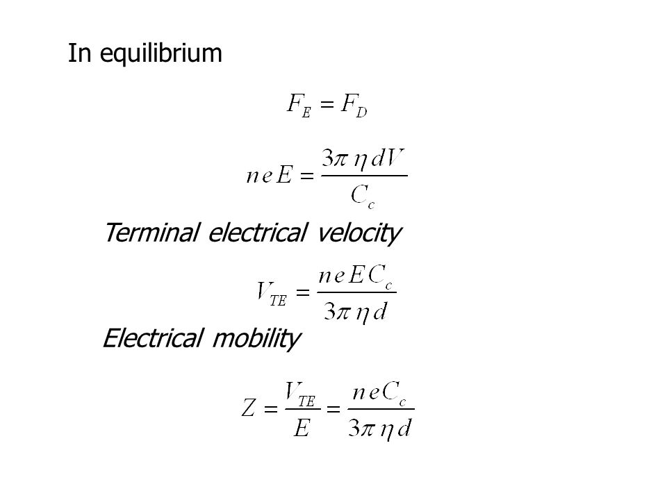 In equilibrium Terminal electrical velocity Electrical mobility