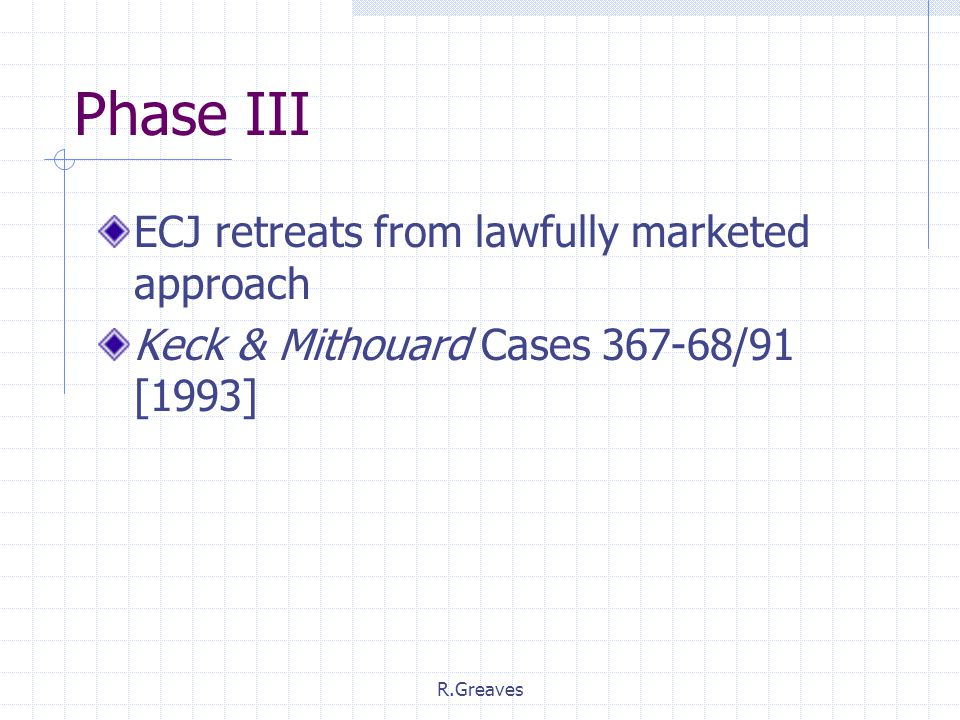 R.Greaves Phase III ECJ retreats from lawfully marketed approach Keck & Mithouard Cases 367-68/91 [1993]