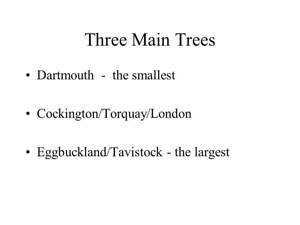 Three Main Trees Dartmouth - the smallest Cockington/Torquay/London Eggbuckland/Tavistock - the largest