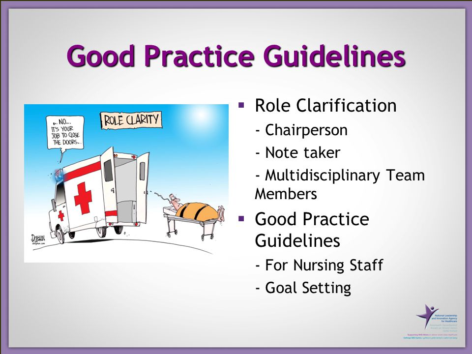 Good Practice Guidelines  Role Clarification - Chairperson - Note taker - Multidisciplinary Team Members  Good Practice Guidelines - For Nursing Staff - Goal Setting