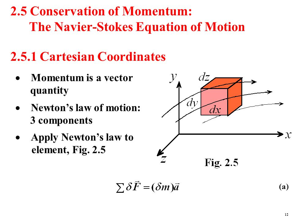 2.5 Conservation of Momentum: The Navier-Stokes Equation of Motion 2.5.1 Cartesian Coordinates (a)  Momentum is a vector quantity  Newton's law of motion: 3 components  Apply Newton's law to element, Fig.
