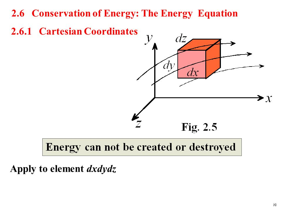 2.6 Conservation of Energy: The Energy Equation 2.6.1 Cartesian Coordinates Apply to element dxdydz 32