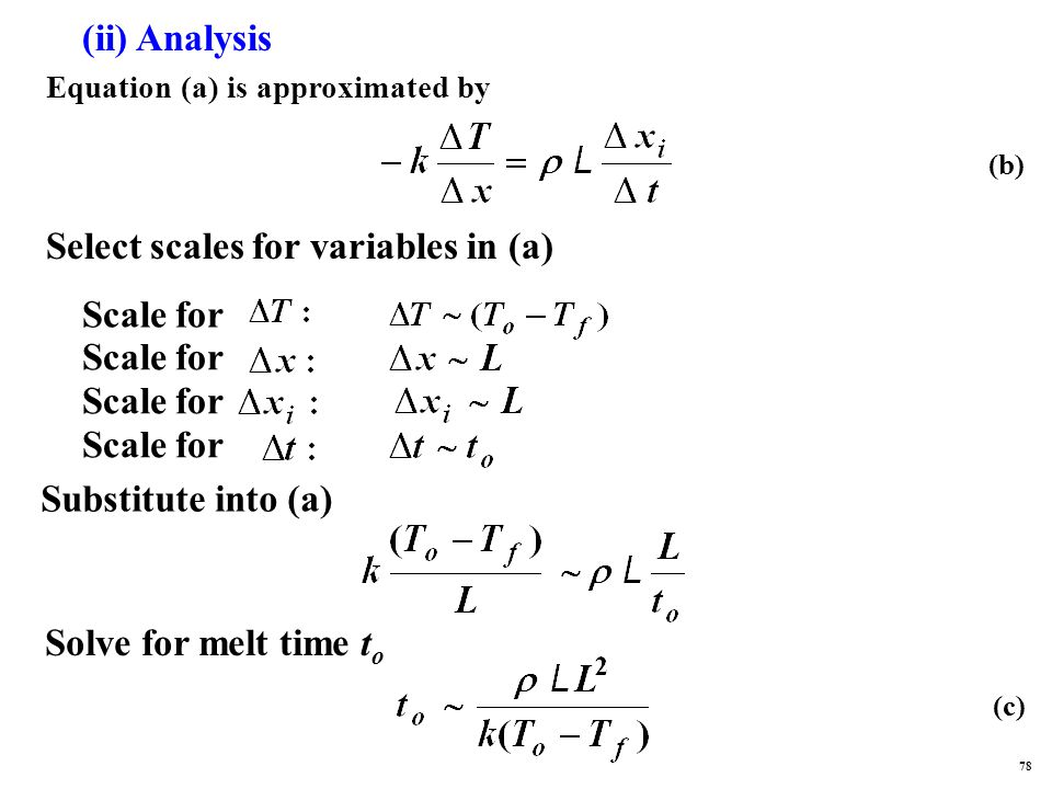 (ii) Analysis Equation (a) is approximated by Select scales for variables in (a) Scale for Substitute into (a) Solve for melt time t o (b) (c) 78