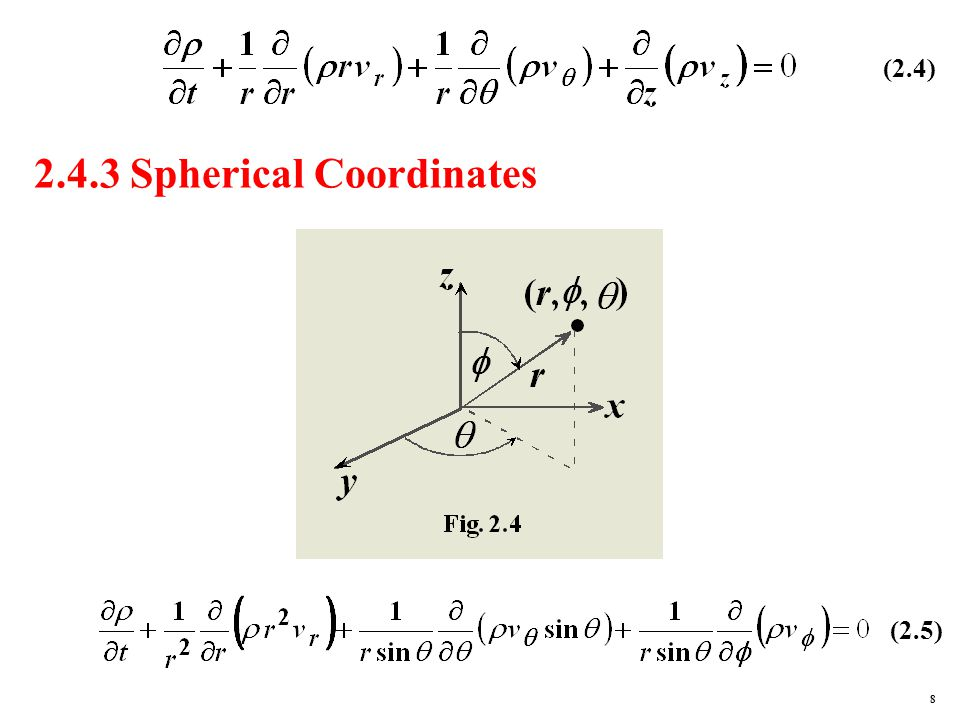 2.4.3 Spherical Coordinates (2.4) (2.5) 8