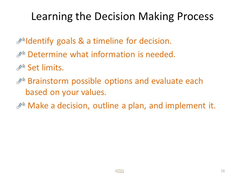 Learning the Decision Making Process Identify goals & a timeline for decision.