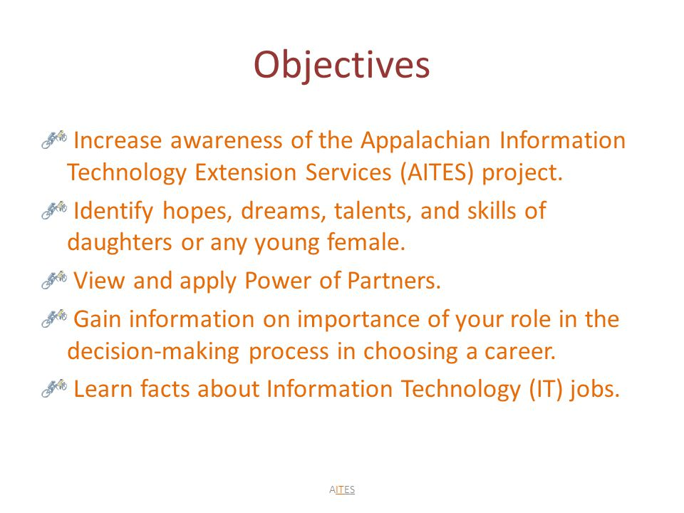Objectives Increase awareness of the Appalachian Information Technology Extension Services (AITES) project.