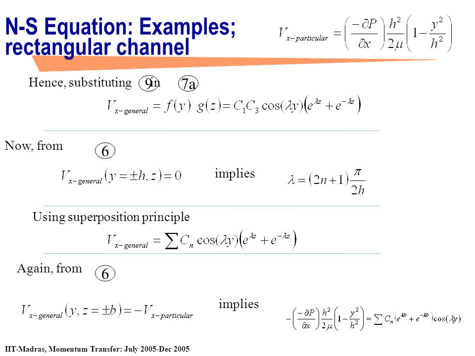 IIT-Madras, Momentum Transfer: July 2005-Dec 2005 N-S Equation: Examples; rectangular channel Hence, substituting in Using superposition principle Now