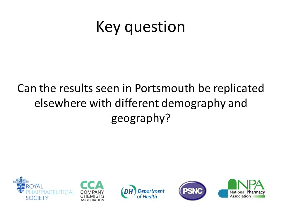 Key question Can the results seen in Portsmouth be replicated elsewhere with different demography and geography