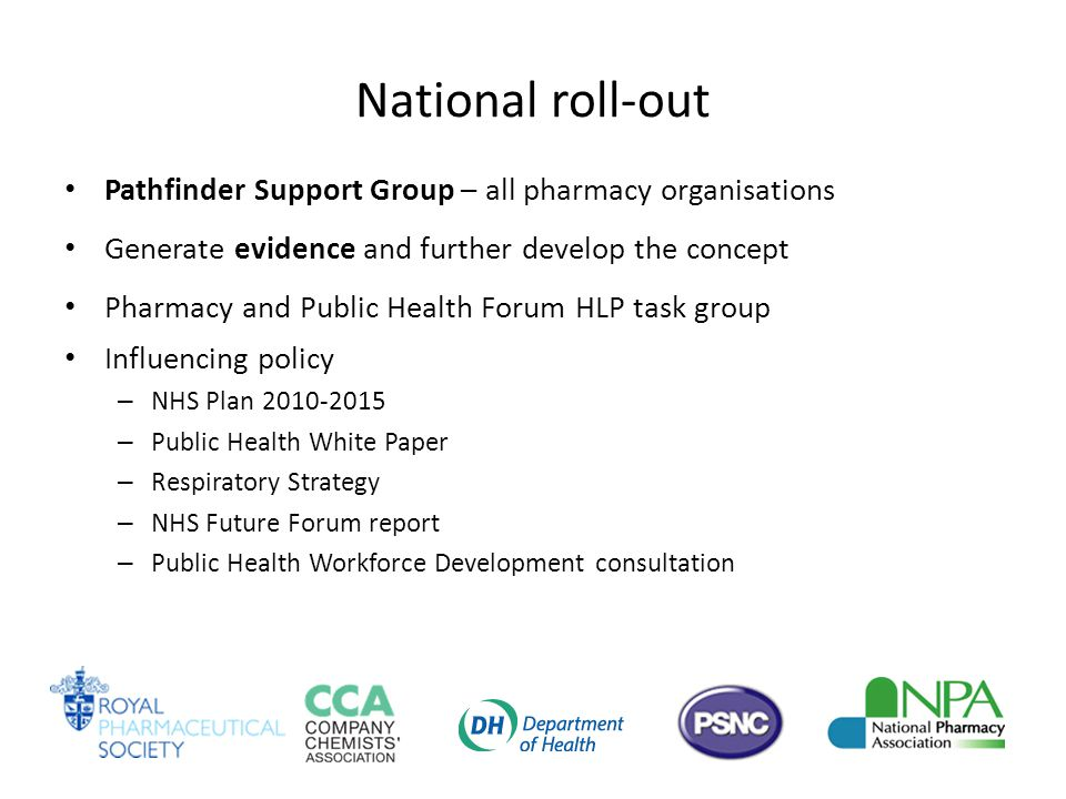 National roll-out Pathfinder Support Group – all pharmacy organisations Generate evidence and further develop the concept Pharmacy and Public Health Forum HLP task group Influencing policy – NHS Plan 2010-2015 – Public Health White Paper – Respiratory Strategy – NHS Future Forum report – Public Health Workforce Development consultation