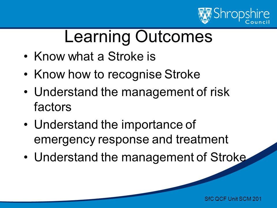 Learning Outcomes Know what a Stroke is Know how to recognise Stroke Understand the management of risk factors Understand the importance of emergency