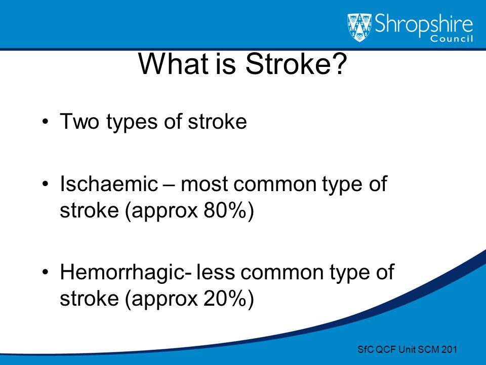 What is Stroke? Two types of stroke Ischaemic – most common type of stroke (approx 80%) Hemorrhagic- less common type of stroke (approx 20%) SfC QCF U