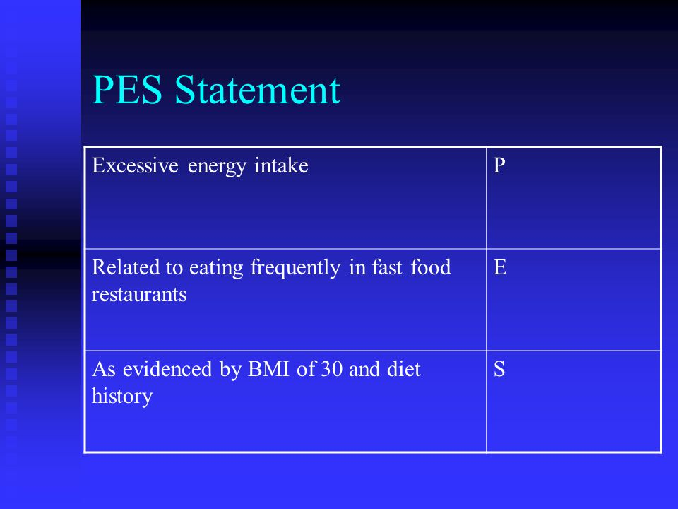 PES Statement Excessive energy intakeP Related to eating frequently in fast food restaurants E As evidenced by BMI of 30 and diet history S