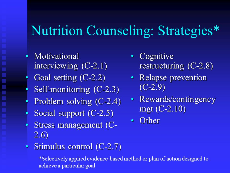Nutrition Counseling: Strategies* Motivational interviewing (C-2.1)Motivational interviewing (C-2.1) Goal setting (C-2.2)Goal setting (C-2.2) Self-mon