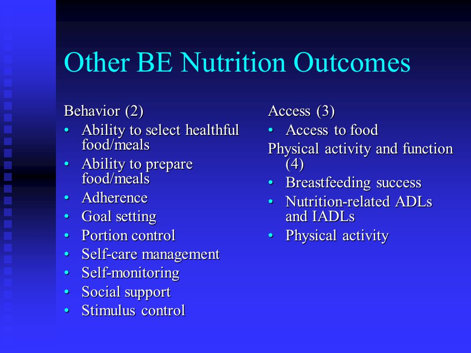 Other BE Nutrition Outcomes Behavior (2) Ability to select healthful food/mealsAbility to select healthful food/meals Ability to prepare food/mealsAbi