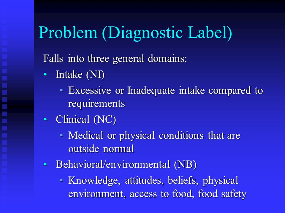 NCP Example: LTC Diagnosis: Inadequate energy intake (NI- 1.4) related to poorly fitting dentures and hoarding of oral supplement as evidenced by observation and pt interviewDiagnosis: Inadequate energy intake (NI- 1.4) related to poorly fitting dentures and hoarding of oral supplement as evidenced by observation and pt interview