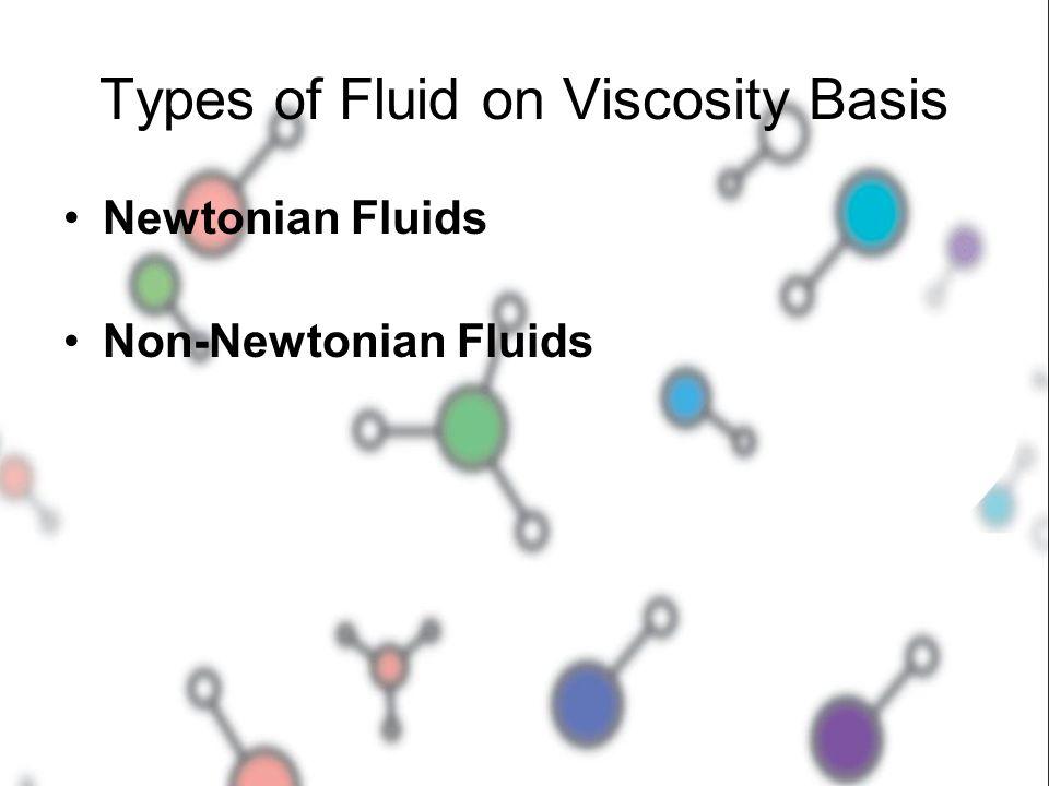 Types of Fluid on Viscosity Basis Newtonian Fluids Non-Newtonian Fluids