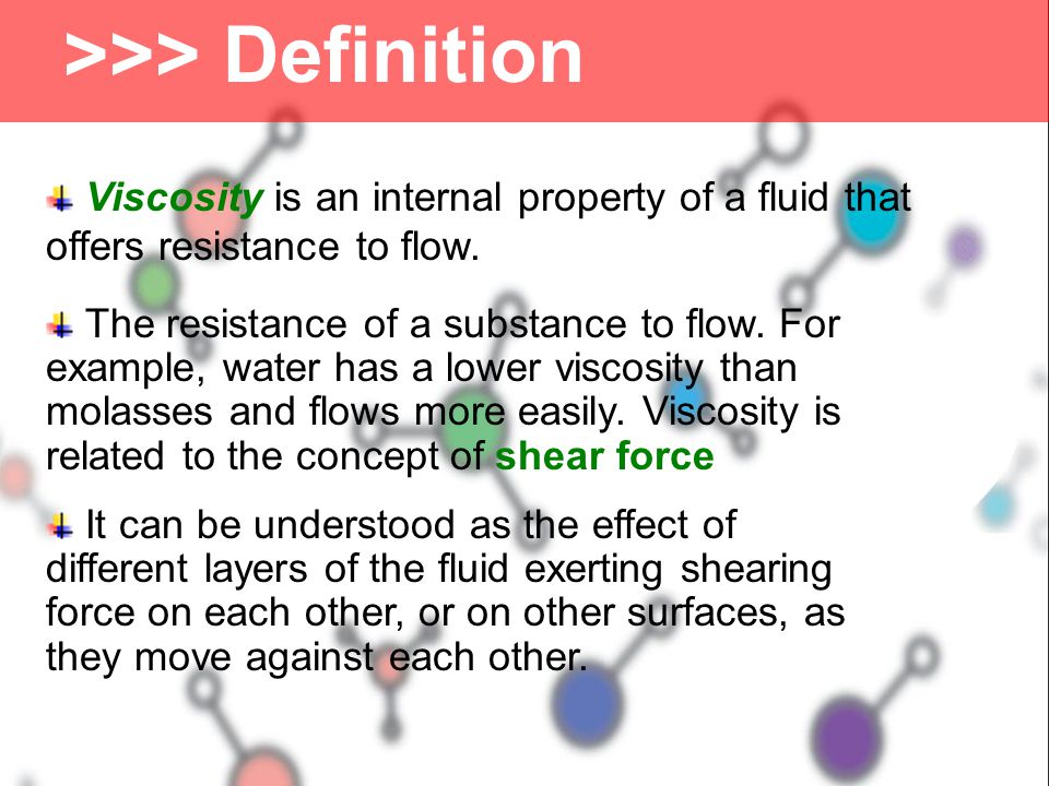 Example - Converting between Kinematic and Absolute Viscosity for Air Kinematic viscosity of air at 1 bar (105 Pa, N/m2) and 40oC is 16.97 cSt (16.97 10-6 m2/s).Kinematic viscosity of air The density of air estimated with the Ideal Gas LawIdeal Gas Law ρ = p / R T where ρ = density (kg/m3) p = absolute pressure (Pa, N/m2) R = individual gas constant (J/kg K) T = absolute temperature (K) ρ = (105 N/m2) / ((287 J/kg/K) (273 oC + 33 0C) = 1.113 kg/m3 Absolute viscosity can be expressed as μ = (1.113 kg/m3) (16.97 10-6 m2/s) = 1.88 10-5 (kg/m s, Ns/m2, P)