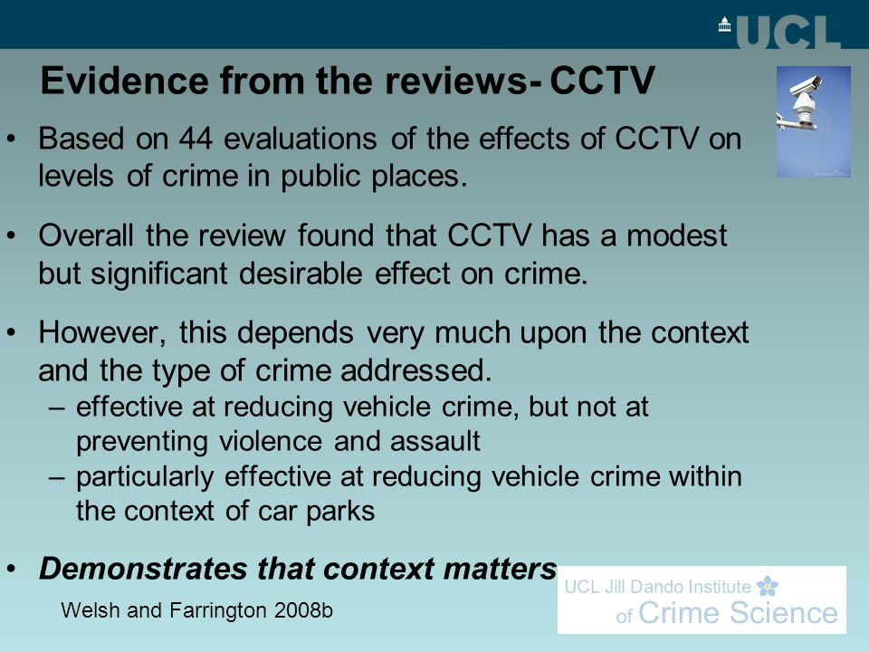 Evidence from the reviews- CCTV Based on 44 evaluations of the effects of CCTV on levels of crime in public places.