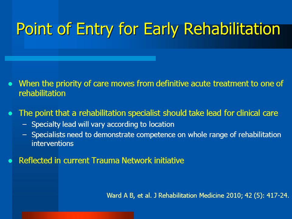 Why is Rehabilitation Important Here.
