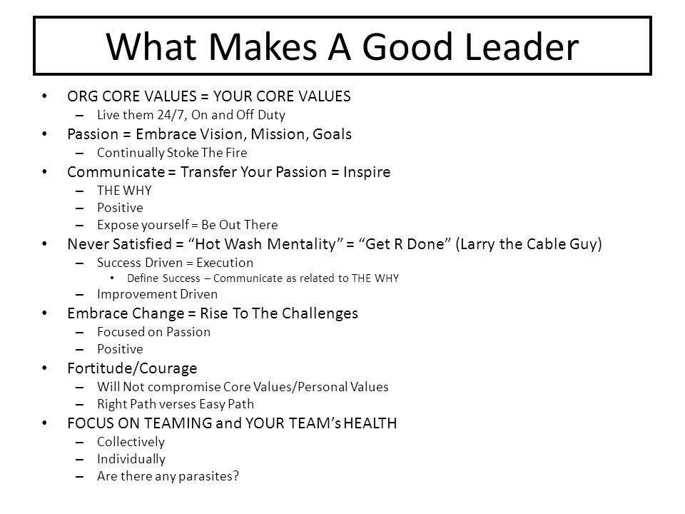 What Makes A Good Leader ORG CORE VALUES = YOUR CORE VALUES – Live them 24/7, On and Off Duty Passion = Embrace Vision, Mission, Goals – Continually S