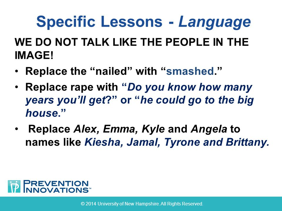 Specific Lessons - Language © 2014 University of New Hampshire.