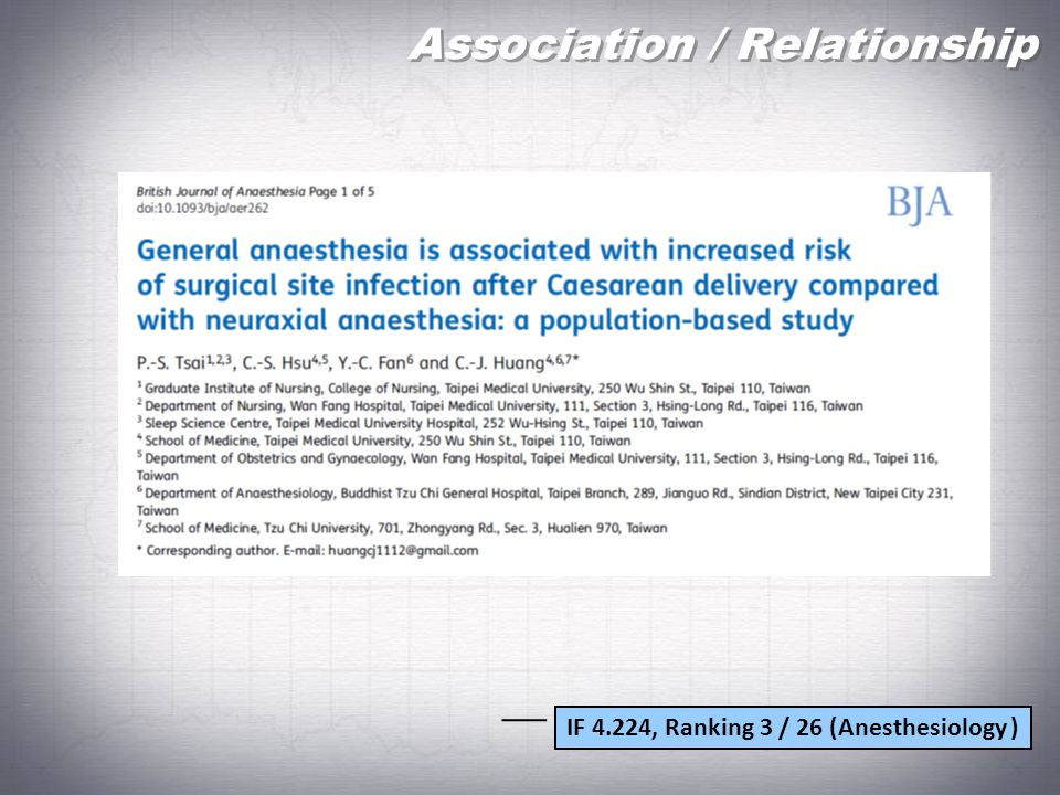 Association / Relationship IF 4.224, Ranking 3 / 26 (Anesthesiology )