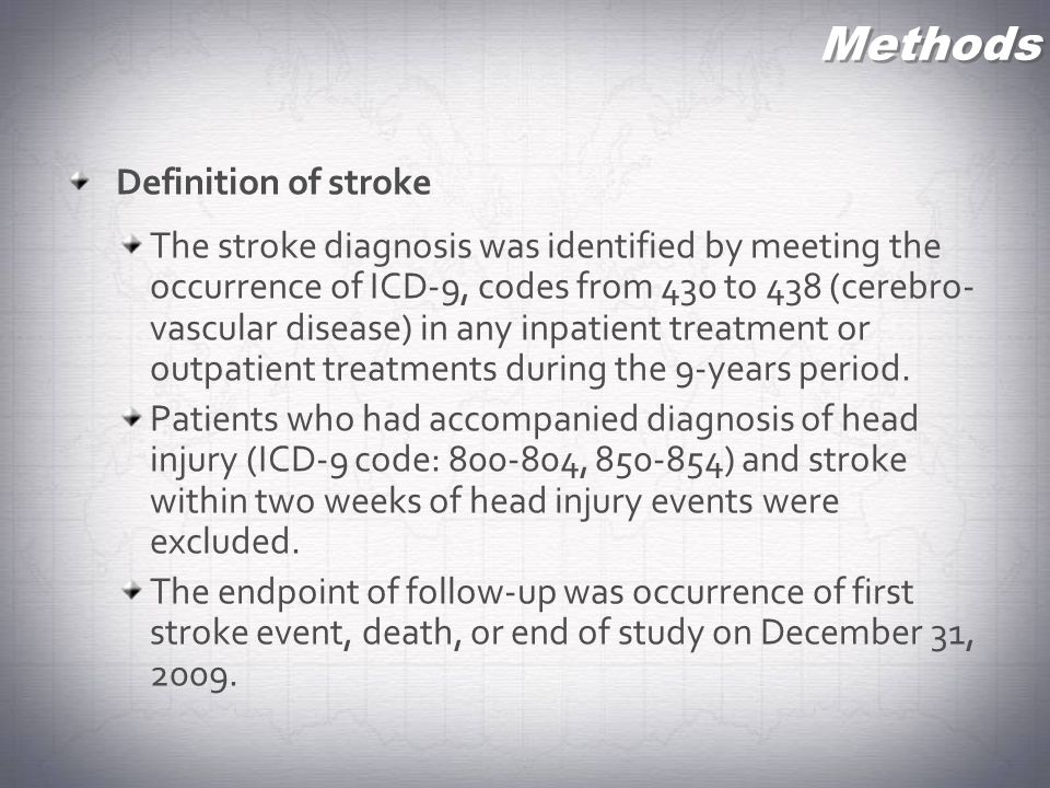 Methods Definition of stroke The stroke diagnosis was identified by meeting the occurrence of ICD-9, codes from 430 to 438 (cerebro- vascular disease)