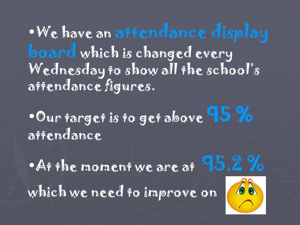 We have an attendance display board which is changed every Wednesday to show all the school's attendance figures. Our target is to get above 95 % atte
