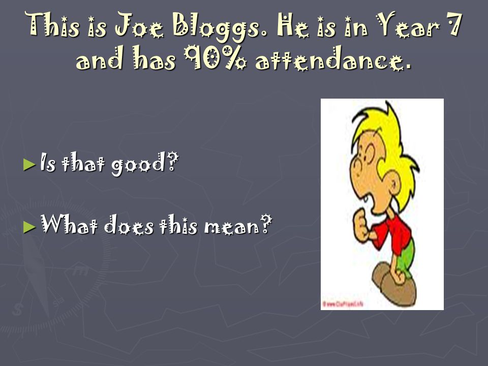 This is Joe Bloggs. He is in Year 7 and has 90% attendance. ► Is that good? ► What does this mean?