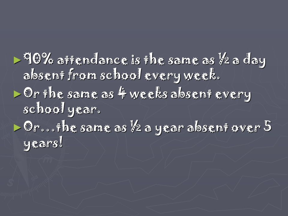 ► 90% attendance is the same as ½ a day absent from school every week. ► Or the same as 4 weeks absent every school year. ► Or…the same as ½ a year ab